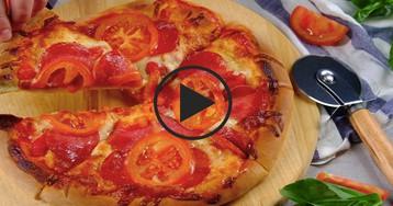 Видео-рецепт: Пицца на тонком тесте