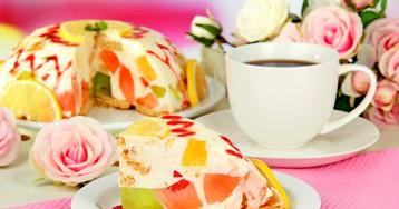 """Торт """"Битое стекло"""" с консервированными персиками и печеньем"""
