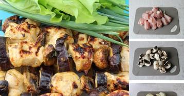"""Нежнейший шашлык куриный с овощами """"Пикантный микс"""": пошаговый фото рецепт"""
