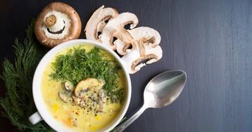 Домашний сырный суп с грибами