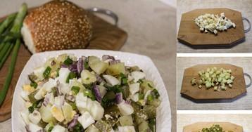 Пошаговый фото-рецепт: Сочный картофельный салат