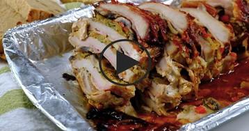 Видео-рецепт: Слоеный свиной антрекот
