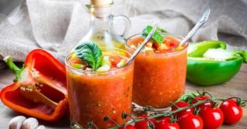 Летний холодный суп гаспачо