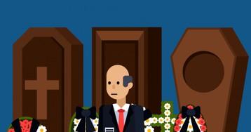 Анекдот про трудный выбор мужика впохоронном бюро