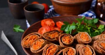 Печёночные блинчики с морковной начинкой