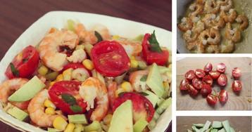 Легкий салат салат с креветками и авокадо: пошаговый фото-рецепт