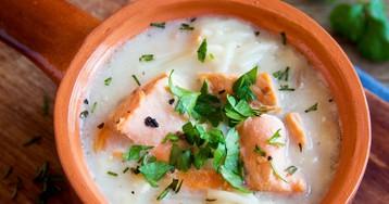 Суп с лососем и вермишелью
