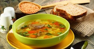 Суп с куриными сердечками и чечевицей