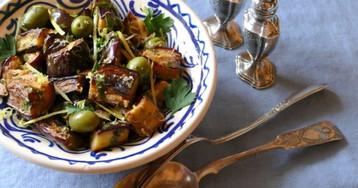 Салат из баклажанов, каперсов и лимона