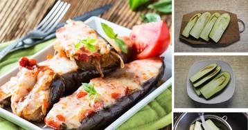 Лодочки из баклажанов, запеченных с помидорами и сыром: пошаговый фото-рецепт