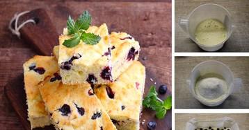 Пирог с черникой из теста на кефире: пошаговый фото-рецепт