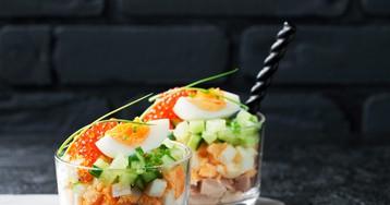 Веррин с печенью трески – слоёный салат во французском стиле