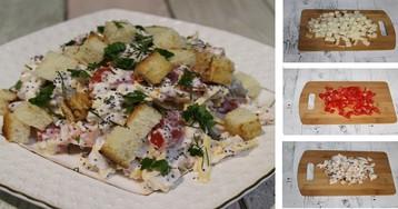 Пошаговый фото-рецепт: Салат с курицей, помидорами и секретным ингредиентом