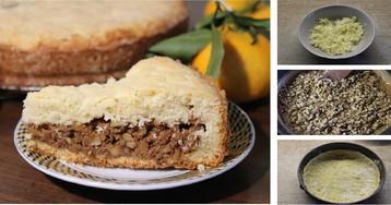 Песочный пирог с орехами: пошаговый фото рецепт