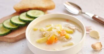 Домашний сырный суп с курицей