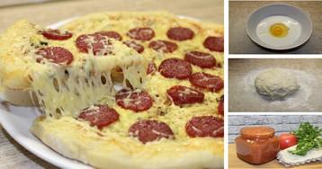 Моментальное тесто для пиццы на кефире: пошаговые фото (бонус - рецепт самого вкусного домашнего томатного соуса)
