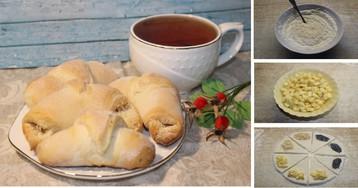 Рогалики из дрожжевого теста с начинкой: пошаговое фото