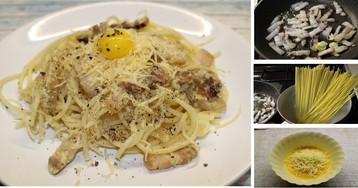 """Традиционная итальянская паста """"Карбонара"""": пошаговый фото рецепт"""