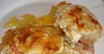 Запеченная курица с картофелем и ананасами: пошаговые фото