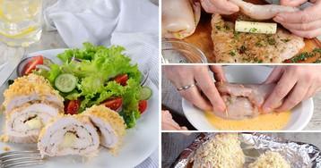 Куриные рулетики с сыром в панировке: пошаговые фото