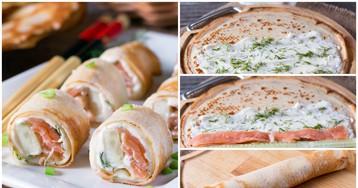 Блинные роллы с красной рыбой, огурцом и сливочным сыром: пошаговые фото