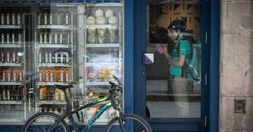 La bici de Deliveroo se topa con baches