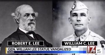Vandals deface statue of General Lee. No, not that General Lee.