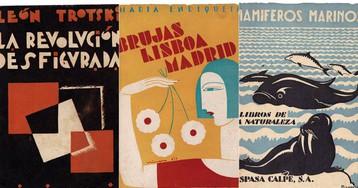 Cubiertas de libros de la exposición en la Biblioteca Nacional