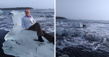Texas grandmother rescued after posing on 'iceberg throne' that drifted out to sea during Iceland vacation