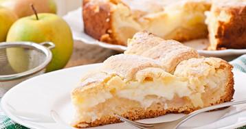 Пирог с яблоками и заварным кремом