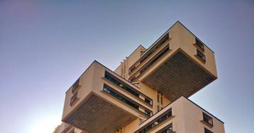 «Парящее ввоздухе» здание Министерства автомобильных дорог ГрузинскойССР