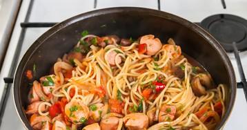 Спагетти с сосисками за 15 минут