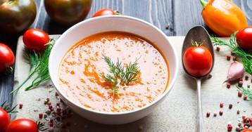 Яркий томатный суп пюре с апельсином