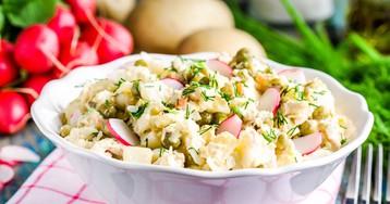 Картофельный салат с редисом и зеленым горошком