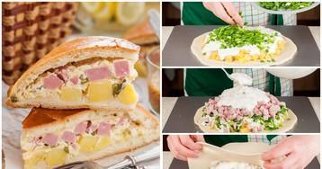 Пирог с ветчиной  и картофелем для пикника: пошаговые фото