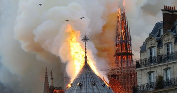 Why does it look like birds were circling the flames of Notre Dame?