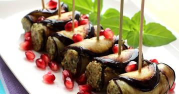 Аппетитные рулетики из баклажанов с ореховой пастой