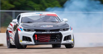 This Camaro Became Formula Drift's Groundbreaking First Electric Car After Getting Hit by a Train