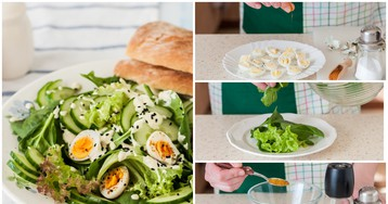 Салат с перепелиными яйцами и пикантной заправкой: пошаговый фото рецепт