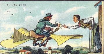 Потешные рисунки, отражающие, каким в воображении людям представлялось будущее столетие назад