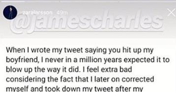 Zara Larsson Writes Rambling Non-Apology To James Charles Over Boyfriend Accusations — LOOK!