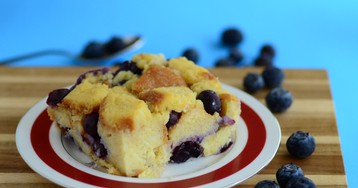 Blueberries and Cream Bread Pudding
