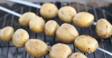 Молодой маринованный картофель на гриле
