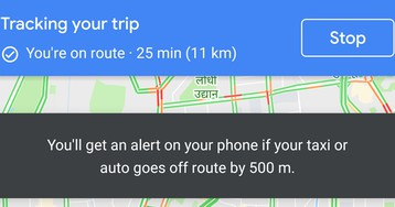 Google Maps keeps you safe by alerting you if your taxi goes off-route