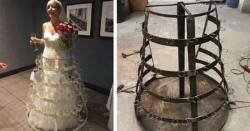 Невеста вышла в платье, вмещающем в себя 50 бокалов шампанского