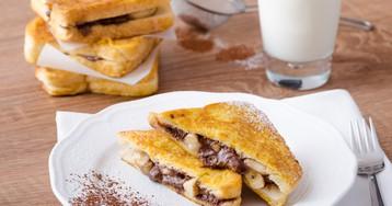Домашние тосты с бананом и шоколадным кремом