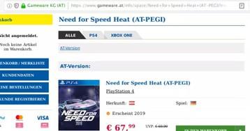 В австрийском интернет-магазине появилась новая игра серии Need for Speed