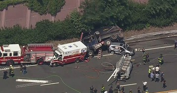 NJ state troopers hit by dump truck on interstate; massive pile-up with fire truck, ambulance ensues