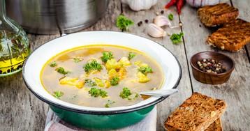 Овощной суп из брокколи и цветной капусты