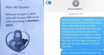 Landlord Uses Bible To Justify Raising The Rent, Tenant Misses The Joke